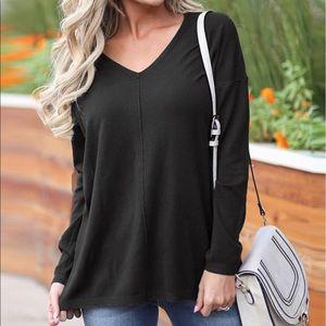 Talbots Womens V Neck Top Shirt Rayon Long Sleeves
